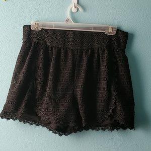 Crochet high waisted knit shorts NWOT